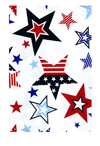 Kane Patriotic Stars PEVA Vinyl Tablecloth 4th of July Flannel Backed (52 x 70 Rectangle) ()