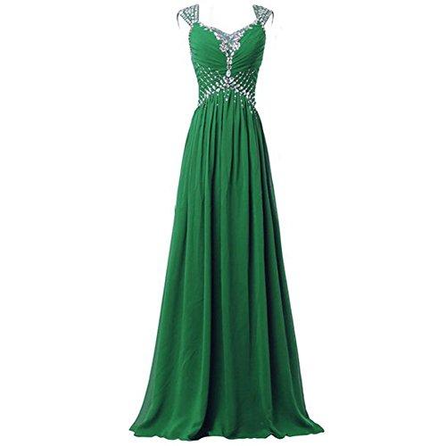 Delle Ballo Da Chiffon Strass Verde Nuziale Partito Da Donne Lungo Abiti Cerimonia Drasawee Vestito Sera Di BwfwxqRT7n