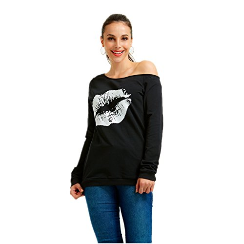 MAGICMK Women's Sexy Pullover Lips Print Casual Off The Shoulder Slouchy Shirt (L, Black+White) ()
