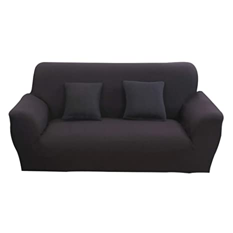 Hotniu Funda Elástica de Sofá Funda de Color Liso para sofá Antideslizante Protector Cubierta de Moda (Dos Plazas, Negro)