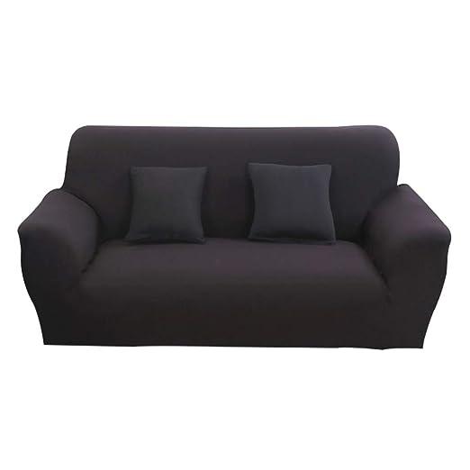 Hotniu Funda Elástica de Sofá Funda de Color Liso para sofá Antideslizante Protector Cubierta de Moda (Cuatro Plazas, Negro)
