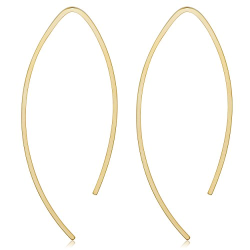 Kooljewelry 14k Yellow Gold Wishbone Threader Earrings