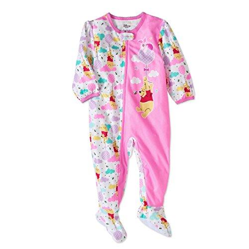 AME Winnie The Pooh Newborn Micro Fleece Footed Pajama Baby Girls ()