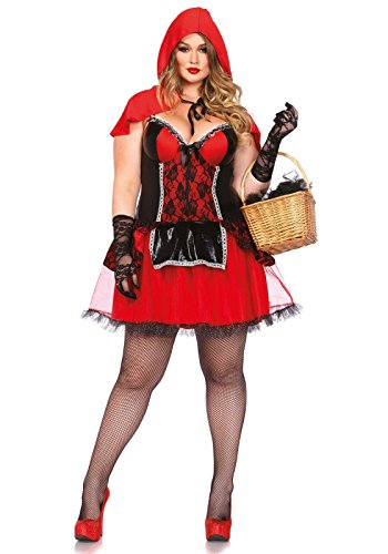 [Leg Avenue Women's Plus-Size 2 Piece Curvy Red Riding Hood Costume, Black/Red, 1X] (Sexy Fairy Halloween Costumes)