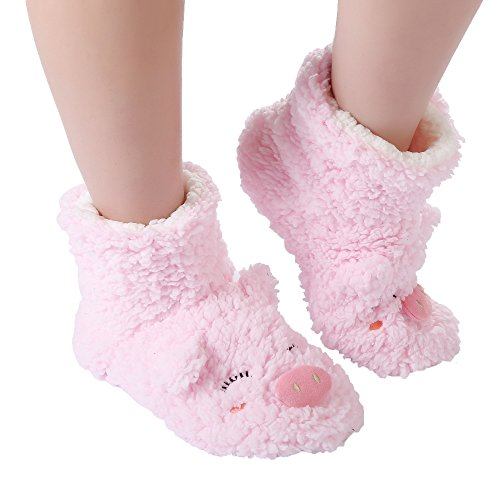 PandaBros(TM) Women's Indoor Super Soft Cozy Comfortable Slipper Socks with Anti-Skid Bottom Soles (pink pig boots, 8-10)