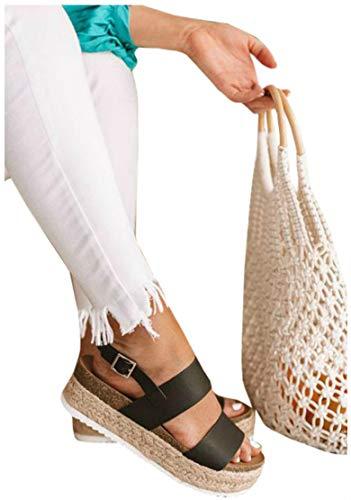 LAICIGO Women's Open Toe Ankle Strap Espadrille Sandal