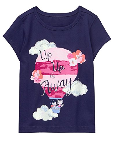 2t Girl Gymboree - Gymboree Baby Girls Short Sleeve Glitter Graphic Tee, Navy, 2T