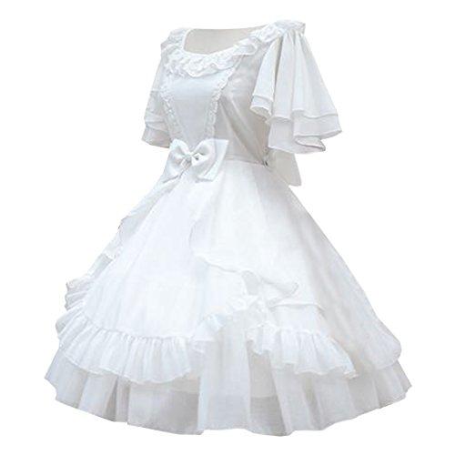 Uniform Damen Weiß Kurzarmer Kleid Lolita Partiss Cosplay Bowknot FCx7dwIqI