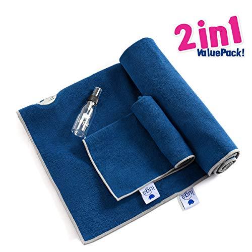 IUGA Yoga Towel, Extra Thick Hot Yoga Towel + Hand Towel 2 in 1 Set, Corner Pockets Design to Prevent Bunching, 100% Microfiber