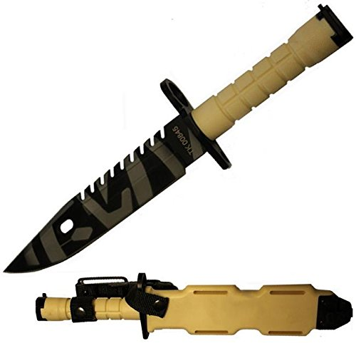 Ultimate Arms Gear Tactical Limited Edition Tan Special Forces Series M9 M-9 Military Sawback Survival Tigerstripe Tiger Stripe Blade Bayonet Knife With Tactical Sheath Scabbard (Handle Zytel Desert)
