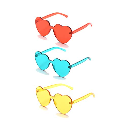 3 Pack Retro Neon Heart Rimless Sunglasses for women Fashion One Piece Resin Frameless Transparent Eyewear (3color2) ()