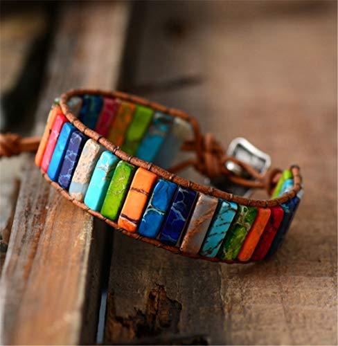 Chakra Bracelet Jewelry H made Multi Color Natural Stone Tube Beads Leather Wrap Bracelet Couples Bracelets Gifts Man - Slice Pipe Tube