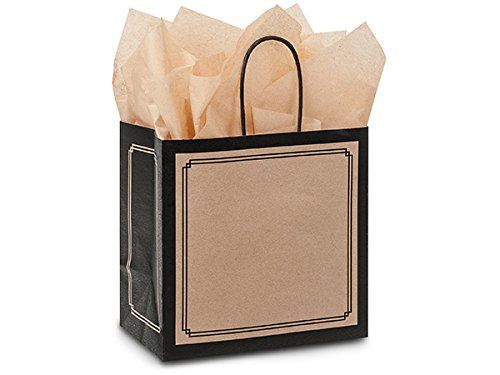 Pack Of 25, Junior 8 x 5 x 8'' Solid Black & Kraft Duets Shopping Bag Made In USA