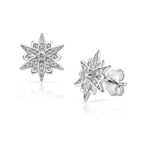 - SolidSilver- Sterling Silver Crystal Clear CZ Starburst Flower Style Stud Earrings for Women and Girls
