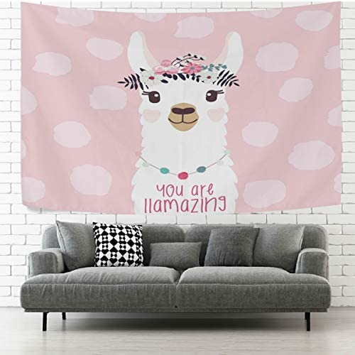 AGONA Cute Fun Animal Llama Alpaca Flower Pink Wall Tapestry Tapestry Wall Hanging Decorative Tapestries Wall Art Wall Blanket Bedding Tapestry for Bedroom Living Room Dorm Home Decor 90 x60