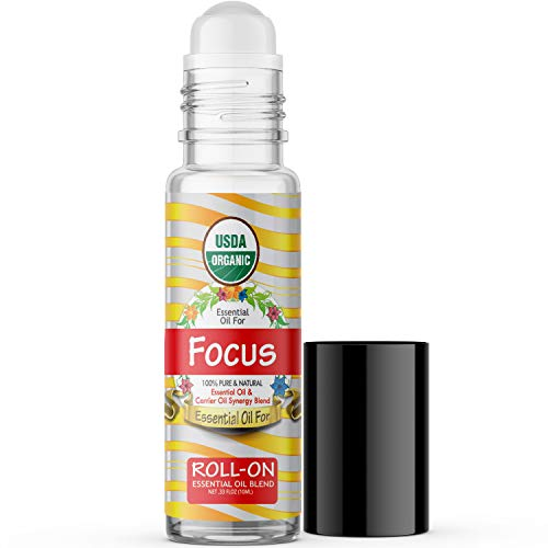 Essential Oil for Focus (USDA Organic - 100% Pure) Pre-Diluted Blend of Essential Oils Recommended by Aromatherapists for Aromatherapy - 10ml