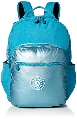 "Kipling Women's Seoul Backpack, Turquoise Sea Metallic Block, 13.75"" L x 17.25"" H x 8"" D"