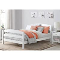 White Finished Full Size Bed, Side Rails, Minimalist Design, Arched Open Slat Headboard and Footboard, Made from Sturdy Wood Construction, Bundle with Expert Guide for Better Life