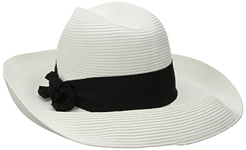 Physician Endorsed Women's Adriana Toyo Straw Packable Hat with Rated UPF 50+, White/Black, One Size