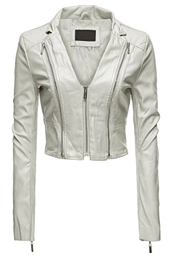 Sexy Moto Faux Leather Zip Up Slim Fit Crop Jackets, Medium, 036-Offwhite