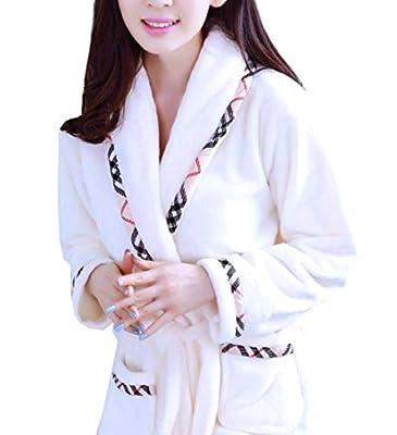 femaroly Women Flannel Long Bathrobe Autumn and Winter Coral Fleece Pajamas Night Gown