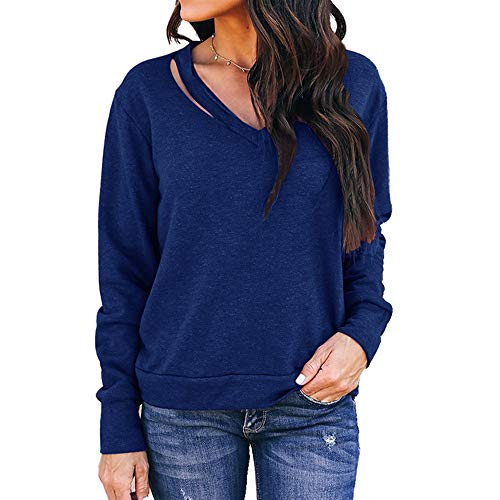 BEAUTYVAN Womens Off The Shoulder Tops, Women Halter Strap Solid Color Long Sleeve Blouse Casual T Shirt -