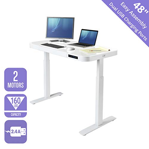 "Seville Classics OFF65873 Airlift Tempered Glass Electric Standing Desk with Drawer, 2.4A USB Ports, 3 Memory Buttons (Max. Height 47"") Dual Motors, White Top"