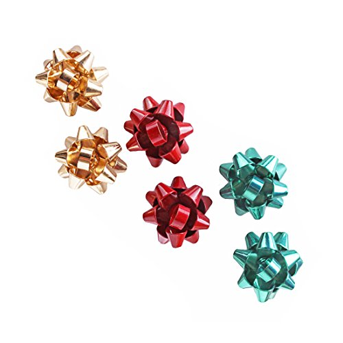 - VK Accessories 3 Paris Bow Studs Christmas Gift Girl Earrings 3 Color(Green, Golden, Red)