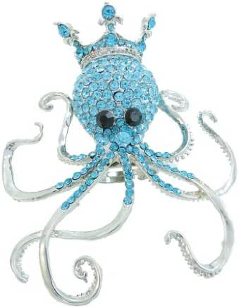 EVER FAITH Crown King Octopus Adjustable Ring Austrian Crystal