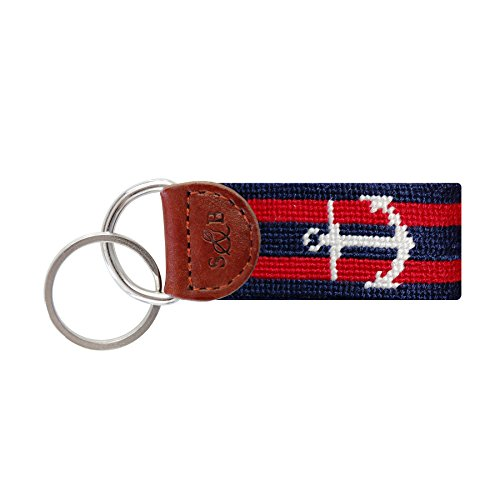 Smathers & Branson Men's Needlepoint Key Fob Striped Anchor/Dark Navy, Red by Smathers & Branson
