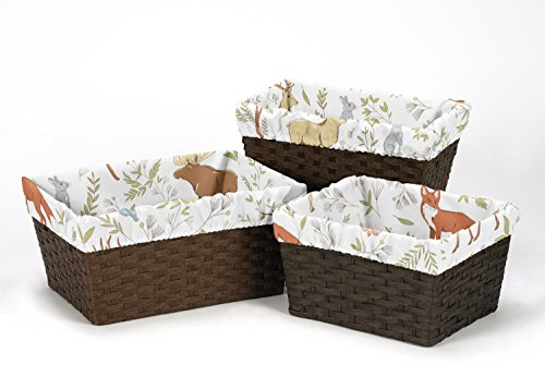 Sweet Jojo Designs 3-Piece Fits Most Basket Liners for Woodland Animal Toile Bedding Sets by Sweet Jojo Designs