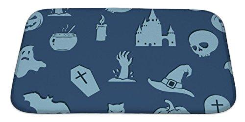 Gear New Bath Mat For Bathroom, Memory Foam Non Slip, Halloween Pattern, 34x21, (100 Floors Halloween 34)