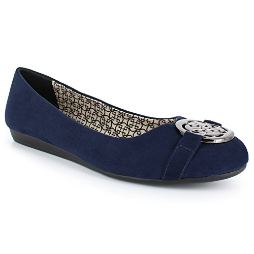 Ruby Fuentes Vegan Construction Sde Ornament Flats Daisy Accent Pu Fashions Navy OZHxPPw