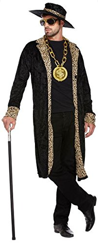 Mens Rapper Gangster Velvet Pimp Jacket Hat 70s Fancy Dress Costume Fancy Dress Costume Outfit U36204 by Fancy Pants Party Store (Mens 70s Outfits)