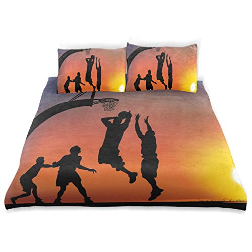 - SINOVAL Decor Duvet Cover Set, Boys Playing Basketball at Sunset Horizon Sky Dramatic Scene A Decorative 3 Pcs Bedding Set with Pillowcases, Twin/Twin XL