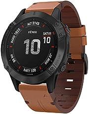 KOMI Band Replacement for Garmin Fenix 5/Fenix 6 Watch Band, 22mm QuickFit Genuine Leather Wristband Strap for Fenix 6/Fenix 6 Pro/Fenix 5/Fenix 5Plus/Forerunner 935/945 Smart Watch(Brown)