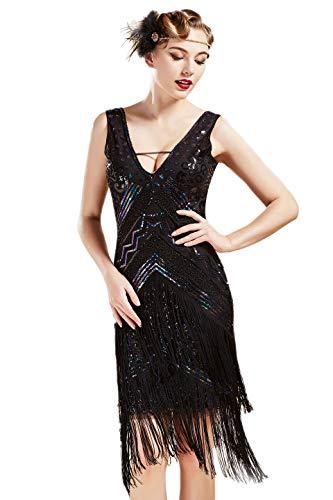 BABEYOND 1920s Flapper Dress V Neck Sequin Beaded Dress Roaring 20s Gatsby Fringe Party Dress (Black Colorful, L) (Dress Flapper Beaded)