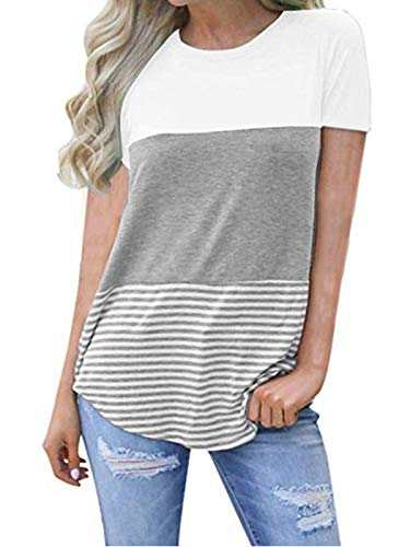 kigod Women's Sexy Round Neck Blouse Top Color Block Stripe Short Sleeve T-Shirt Tunics for Party (White, Medium)