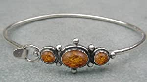 Sterling Victorian Inspired Bracelet with Amber ...Made in America