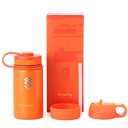 Summit Kids 14 oz Water Bottles, Insulated Stainless Steel Metal Bottle, Silicone Sleeve, BPA Free Plastic Cap & Straw Lid, Use as Travel Tumbler, Toddler Cup, or Kid Canteen for - Metal Legacy