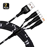 Multi USB Charging Cable Fast Charge, Amuvec [2-Pack 4Ft] 3 in 1 Charger Braided Cord Connector with Phone/Type C/Micro Port, Compatible with Tablets/Samsung Galaxy/Google Pixel/LG V20/Huawei(Black)