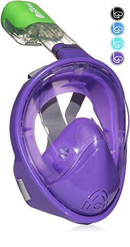 PRODIGY Full Face Snorkel Mask Adult Kids - 180° Panoramic Snorkeling Masks Gear for Adults and Youth - Easy Breathing SWIMTECH Dry Top Set, Anti-Leak&Anti-Fog- (Purple, No Camera Mount-L/XL)