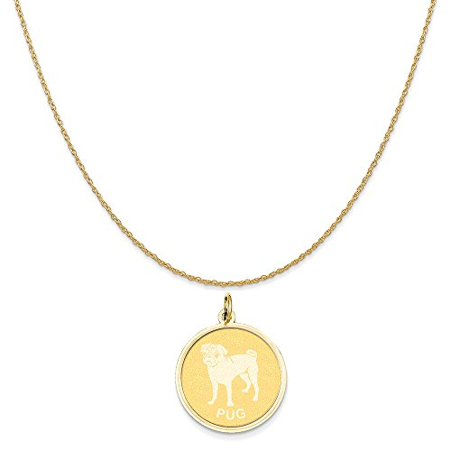 Gold Pug Dog Charm (14k Yellow Gold Pug Disc Charm on a 14K Yellow Gold Rope Chain Necklace, 20