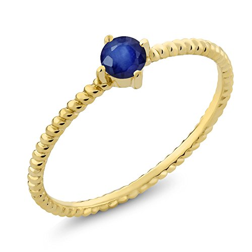 10K Yellow Gold 0.24 Ct Round Blue Sapphire Engagement Solitaire Ring