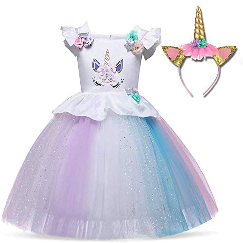 TTYAOVO Girl Unicorn Costume Flower Girls Pageant Princess Party Dress with Headband 1-2 Years White&Purple]()
