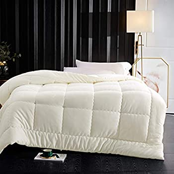 Image of Home and Kitchen Abakan Luxury Down Alternative Comforter King Size Soft Fluffy All-Season Bedding Comforter 62 oz Fill Weight,Hypoallergenic,Hotel Quality Quilted Duvet Insert with 4 Corner Tabs,90x102 inch-Ivory