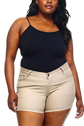 1826 Jeans Women's Premium Plus Size Twill Short Solid Colors Stretch PS-792 (20, ()