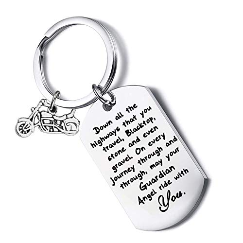 FUSTYLE Jeep Gift Drive Safe Keychain May Your Guardian Angel Ride with You Jeep Lover Gift (Biker) ()