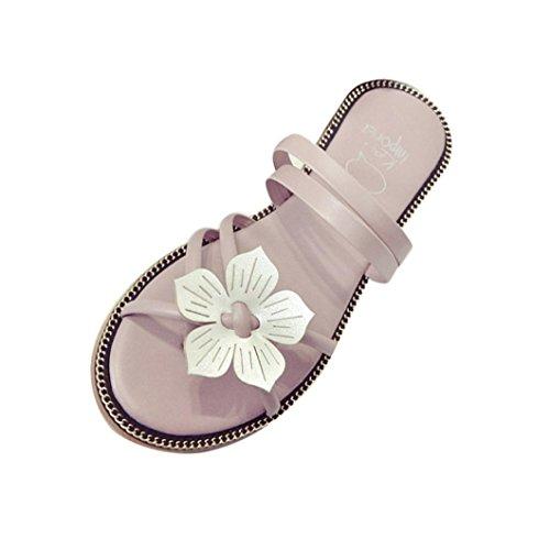Sandalias para Mujer, RETUROM Sandalias de la armadura de la flor del verano de Bohemia de las mujeres encantadoras del estilo Rosa