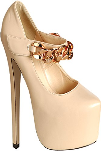 Diamond FAUX LEATHER CHAIN LINK MARY JANE PLATFORM PUMPS 8 nude